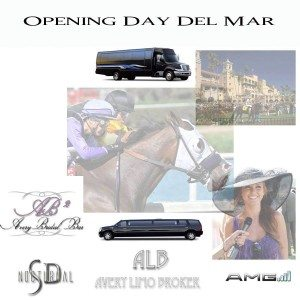 opening day del mar limos buses sedans shuttles