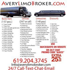 San Diego Party Bus Limo Bus Rental Services tours